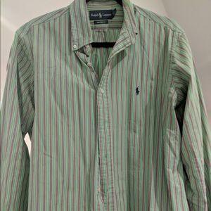Ralph Lauren - Custom Fit, Large, Green/pink/blue
